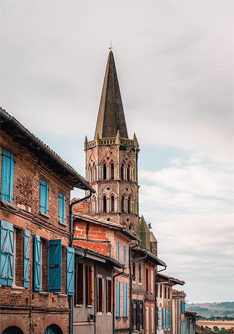 Clocher toulousain église de Beaumont de Lomagne